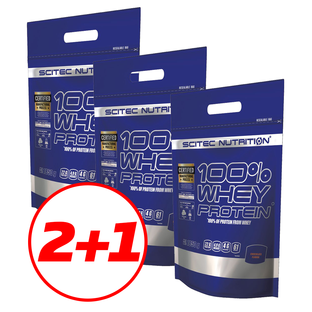 Scitec Nutrition 100% Whey Protein (3x1,85 kg) 5,55 kg